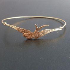 Swallow Bangle, Swallow Bracelet, Swallow Jewelry, Swallow Bird Bracelet, Gold Swallow Charm, Gold Swallow Bird Jewelry, Swallow Bird Bangle