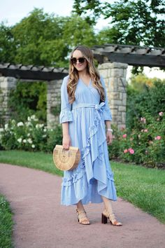 Ruffle Wrap Dress, Who What Wear collection, Outfit Inspiration, Style Inspiration, Summer Style, Fashion Blogger, Rachel Puccetti, Between Two Coasts