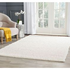 Safavieh Athens Shag White 6 ft. 7 in. x 6 ft. 7 in. Square Area Rug-SGA119B-7SQ - The Home Depot $142