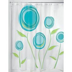 "NEW Blue Floral Fabric Shower Curtain Home Bathroom Decor White Bath Gift 72"" #InterDesign"