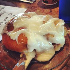 Best homemade, hot-buttered cinnamon roll ever is at Freshies in Steamboat Springs, CO. #food #tmom #restaurants