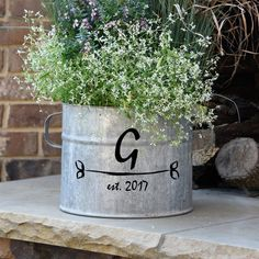 French Vintage Zinc Bucket with Custom Personalization, Galvanized Metal, Hand Painted Galvanized Decor, Galvanized Buckets, Galvanized Metal, Metal Buckets, Retro Home Decor, Vintage Decor, Diy Home Decor, Vintage Diy, Vintage Dress