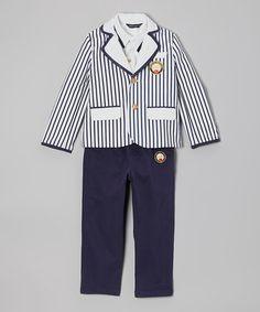 Loving this Navy & White Stripe Three-Piece Sailor Suit - Boys on #zulily! #zulilyfinds