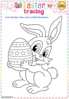 Easter themed Preschool Printables - Free worksheets, fine motor skills practice, coloring pages for kids and puzzles - tracing letters, numbers and other activities - fun learning by BonTon TV Easter Coloring Pictures, Easter Colouring, Halloween Coloring Pages, Coloring Sheets For Kids, Coloring Book Pages, Easter Activities For Kids, Toddler Activities, Easter Art, Easter Crafts