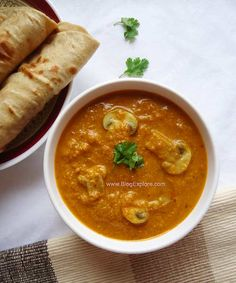 Mushroom Korma - a delicious Indian style curry of mushrooms in a creamy coconut based gravy.