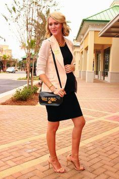 Fashion blogger Belle De Couture wearing Seraphine's black maternity pencil skirt