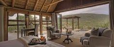 The magnificent Great Fish River Lodge is set along the lush banks of the Great Fish River in Kwandwe Private Game Reserve. Game Reserve South Africa, South Africa Safari, Game Lodge, River Lodge, Private Games, Water Bed, Farmhouse Chic, Lodges, Bungalow