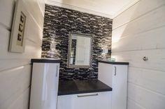 LED lights go well with stylish black and white style. Beautiful Bathrooms, Modern Bathroom, Sauna Lights, Black And White Style, Home Lighting, Kitchen Appliances, Led, Stylish, Decor