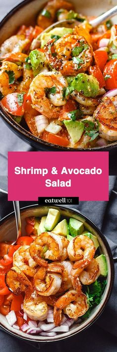 KETO - Shrimp and Avocado Salad - Fresh, easy, and filling! This healthy salad for two tastes crazy good and is loaded with the freshest ingredients! Shrimp Avocado Salad, Avocado Salad Recipes, Avocado Salat, Shrimp Salad Recipes, Seafood Salad, Cabbage Recipes, Egg Salad, Seafood Dishes, Seafood Recipes