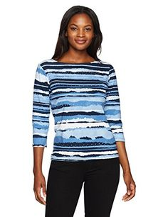 5b08902079e5a8 Ruby Rd Womens 34 Sleeve Printed Cotton Knit Top Navy Multi Large     More