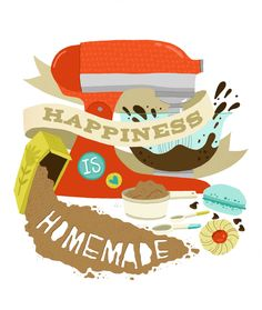 Art Print - Happiness is Homemade. $20.00, via Etsy.