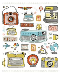 Typewriter camera travel adventure print by sloeginfizz #etsy