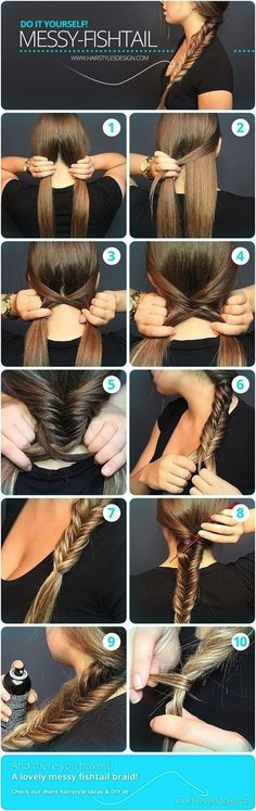 Learn How to Make a Fishtail Braid. Messy Fishtail Braid Tutorial. Easy Step By Step Photos.