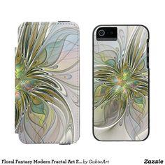 Floral Fantasy Modern Fractal Art Flower With Gold Wallet Case For iPhone SE/5/5s