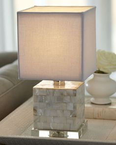 Mother-of-Pearl Mini Cube Lamp by Regina-Andrew Design at Horchow.