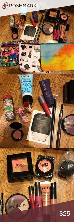 Sample Cosmetic lot Sephora and Ipsy items All unused items: NYX Natural lipgloss, NYX Gleam Born to Glow, Living Proof prime style extender, Ouidad Define & Shine, Hikari, Smashbox quad in Charm, Sephora oil infusion, Nomad eyeshadow, tarte lipsurgence, dirty little secret baked highlighter, a black beauty blender (off brand), brow pencil, eyeshadow brush, Rodial cleanser, be a bombshell lipgloss, 3 bags Sephora Makeup