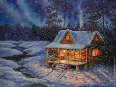 """Купить Свободная копия картины """"Северное сияние"""" - комбинированный, зимний пейзаж, зима, домик, подарок"""