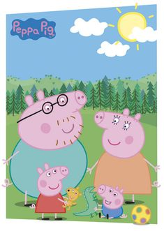 Peppa Pig- I'm sorry if your kid likes this show. but all I see is 4 penises. Who decided this was the way to draw a pig? Peppa Pig Y George, George Pig Party, Bolo Da Peppa Pig, Cumple Peppa Pig, Peppa Pig Background, Peppa Pig Wallpaper, Peppa Big, Peppa Pig Family, Family Poster