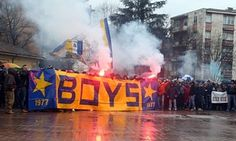 Parma's supporters protest in February 2015.