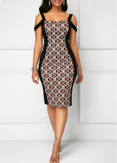 Cold Shoulder Spaghetti Strap Sheath Dresses- Buy now with Reasonable Price! from Diyanu - Ankara Dresses, Shirts & African Fashion Designers, African Fashion Ankara, Latest African Fashion Dresses, African Print Fashion, African Dresses For Kids, African Print Dresses, Checkered Outfit, African Print Dress Designs, Ankara Dress