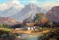 DE JONGH, GABRIEL CORNELIS -A SIGNIFICANT SOUTH AFRICAN PAINTER. Amazing Paintings, Small Paintings, Landscape Art, Landscape Paintings, South African Artists, Mountain Paintings, Cool Landscapes, Plein Air, Artist Art