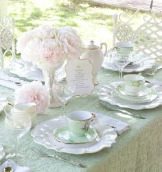 Gorgeous Blush Colored Flowers with Mint & White Dishes on Mint Green Table Runner