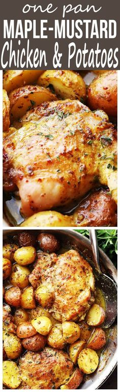 One Pan Maple Mustard Chicken and Potatoes - Easy and absolutely. One Pan Maple Mustard Chicken and Potatoes - Easy and absolutely amazing one pan dinner with chicken thighs and potatoes cooked in a delicious maple syrup and mustard dressing. Maple Mustard Chicken, Maple Chicken, Chicken Potatoes, Recipes With Chicken Breast And Potatoes, Recipes With Chicken Quarters, Chicken And Potatoe Recipe, Pan Cooked Chicken, Chicken Quarter Recipes, Skillet Chicken Thighs