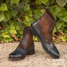 Handcrafted Custom Made Balmoral Boot in Italian Raw Crust Leather with a Denim Blue and Brown Marbled Hand Patina From Robert August. Create your own custom designed shoes. Mens Fashion Shoes, Fashion Boots, Sneakers Fashion, Fashion Shirts, Men's Sneakers, Fashion Hair, Male Fashion, Womens Fashion, Custom Made Shoes