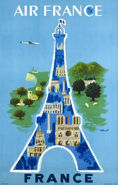 Air France by Villemot 1948 France - Beautiful Vintage Poster Reproduction. This vertical French travel poster features Eiffel Tower with architectural icons in it with the countryside behind it. Air France, France Art, A4 Poster, Retro Poster, Kunst Poster, Poster Vintage, Paris Poster, Tour Eiffel, Illustration Parisienne