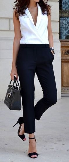 summer outfits Stitch Fix Spring Summer Inspo! Love This Classic Style Outfit For Work. Black Trousers And White Deep V Top.