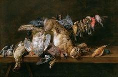 Adriaen van Utrecht, Still life of dead birds and a hare on a table (1647).