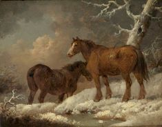 George Morland - Two Horses in the Snow