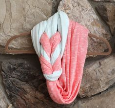 Braided Infinity Scarf in Coral and Light Mint