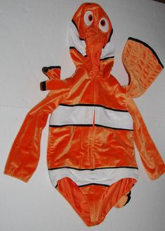 Disney Finding Nemo Clown Fish Child Plush Costume Size XS One-Piece Orange #Disney #Suit