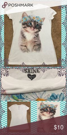 Girl's Kitty Top Selling a never used Girl's Kitty Top.  Size Large (10/12) and approximately 22 inches in length.  Made from 80% cotton and 40% polyester. Shirts & Tops Tees - Short Sleeve