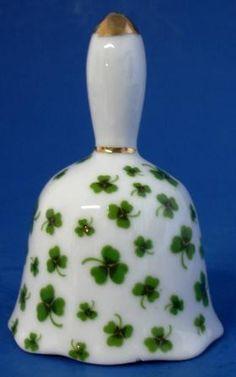 Porcelain Bell Green Shamrock Enesco 1979