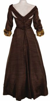 """Replica of All About Eve """"bumpy ride"""" evening gown; back view.  Original fabric was brown grosgrain with fur trimmed cuffs and pocket."""