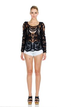 Black long sleeve vintage sheer lace top. A must have for every woman's wardrobe. $29.95 + free shipping.  #lace #lacetops #fashion #vintage #clothes
