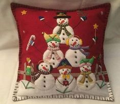 Items similar to x Fun Stacking Snowmen Christmas Tree Pattern Wool Felt Appliqued Pillow on Etsy Christmas Cushions, Christmas Pillow, Felt Christmas, Christmas Snowman, Christmas Crafts, Christmas Ornaments, Easter Tree Decorations, Tree Quilt, Colorful Christmas Tree