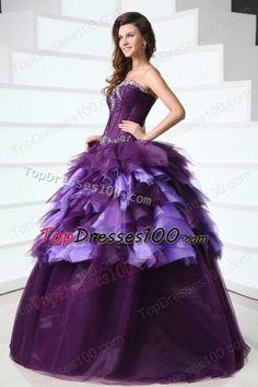 b32f35437 Sweetheart Dark Purple Sweep Train Quinceanera Dress with Beading -  US 219.87 Vestidos De Quinceanera