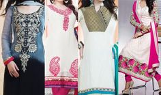 Stylish Neck Gala Lace Design 2015 for Ladies Suit