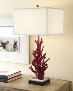 """""""Red Coral"""" Lamp by Regina-Andrew Design at Horchow. Maar wel met een zwarte kap, deze is lellek."""