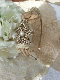 Vintage Gold Leaf and Pearl Headband by PrettyOldJewellery on Etsy, £130.00