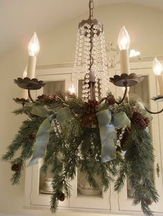 .maybe I'll like my light fixture if I cover it like this for the holidays!