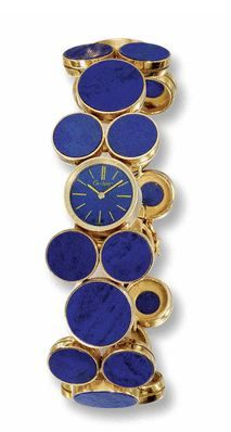 18 CARAT YELLOW GOLD AND LAPIS LAZULI WRISTWATCH, CARTIER ♕BOUTIQUE CHIC♕