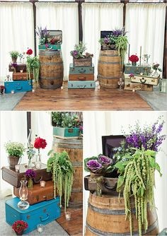Vintage rustic wedding decor with suitcases and wine barrels
