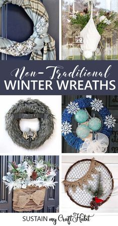 Now that Christmas is over, add a cozy and creative touch to your front door with over a dozen creative DIY winter wreath ideas. #wreaths #winterdecor #diy