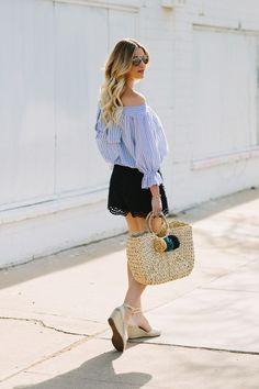 Stripe Off Shoulder Bow Top in Pastel Blue for Summer