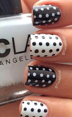 b+w polka dot nails