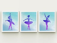 Ballerina printable nursery wall art set girl room ballerina